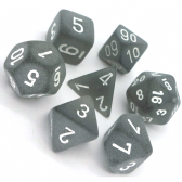 Smoke & White Frosted Polyhedral 7 Dice Set